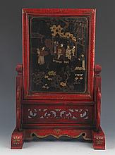 A RED COLOR FINLY PAINTED CHINESE LACQUER TABLE PLAQUE