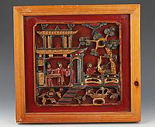 A FINELY STORY CARVING WOODEN BOARD