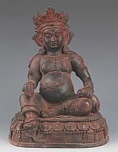 A DETAIL AND FINELY CARVED GOD OF WEALTH BRONZE MODEL