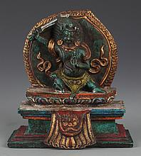 A TIBETAN GOD OF WEALTH CARVING TURQUOISE RELIGIOUS DECORATION