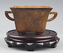 A DOUBLE EAR SQUARE CENSER