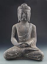 A LARGE HANDCARVING STONE AKSHOBHYA BUDDHA