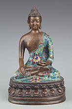 A FINELY ENAMEL PAINTED BRONZE AKSHOBHYA BUDDHA
