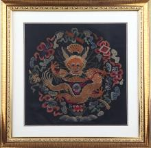 A RARE DRAGON EMBROIDERED SATIN WITH FRAME