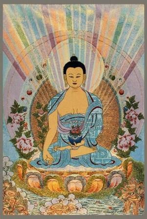 A fine bhaisajyaguru buddha on chinese tapestry for Buddha decorations for the home uk