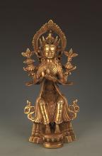 A FINE BRONZE MAITREYA BUDDHA STATUE