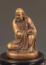 A FINE BRONZE BODHIDHARMA BUDDHA STATUE