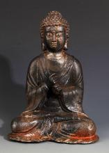 A FINELY MADE IRON AKSHOBHYA BUDDHA