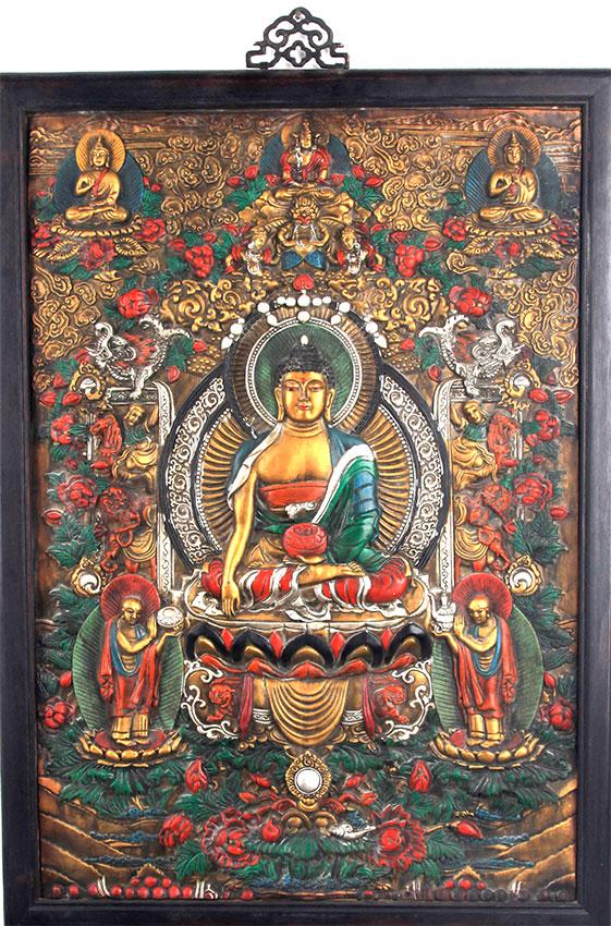 Large Buddha Panel: A LARGE FINELY CARVED BUDDHA PANELS