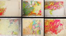 Group of Six Old Chinese Geological Map