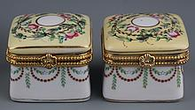 A GROUP OF FIVE FINLY PAINTED PORCELAIN MAKE UP BOX