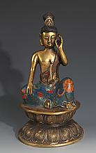 A FINELY CARVED CLOISONNÉ ENAMEL BRONZE BUDDHA
