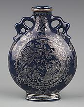 A FINELY DRAGON PAINTED BLUR COLOR PORCELAIN BOTTLE