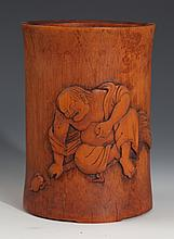 A FINELY CHARACTER CARVED BAMBOO BRUSH POT