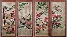 A GROUP OF FOUR FINELY EMBROIDE GLASS PANNEL