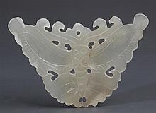 A HOLLOW CARVED WHITE JADE PLAQUE IN FIGURE OF BUTTERFLY