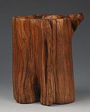 AN AGAR-WOOD BRUSH POT