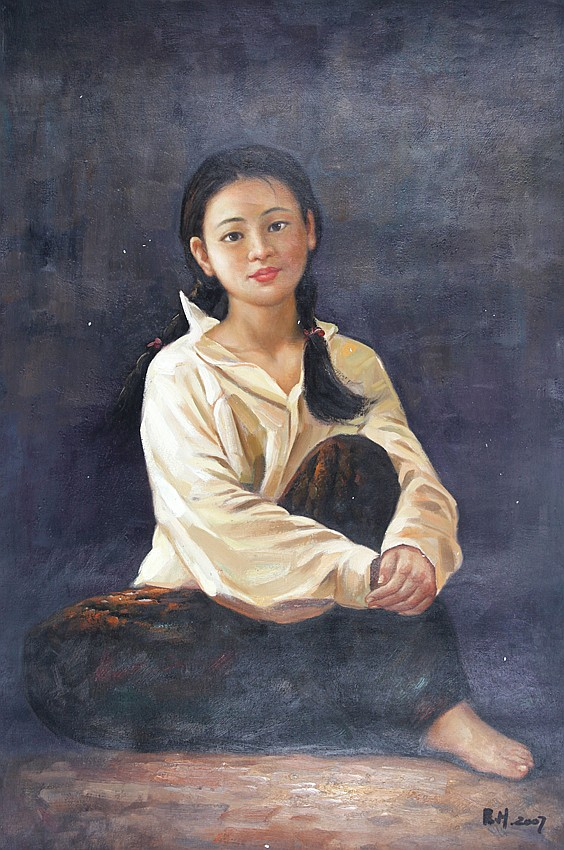 A OIL PAINTING BY REN HONG