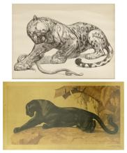 """After Paul Jouve (1878-1973) and Jacques Cartier (1907-2001) """"Jaguar and Serpent"""" and """"Panther"""""""