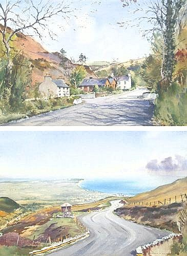 John Nicholson, pair of watercolours of I0M TT course (2)
