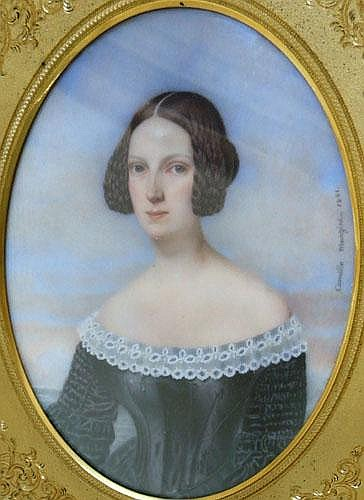 Camille Manzini (fl 1832-1842) oval portrait of a