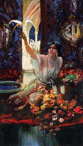 Hal Hurst (1863-1938), Harem girl with pet bird,
