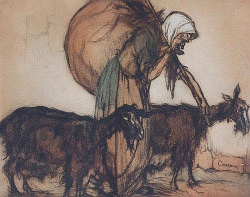Armand Coussens (1881-1935), Old lady with two