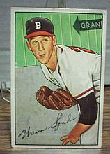 1952 bowman #156 Warren Spahn