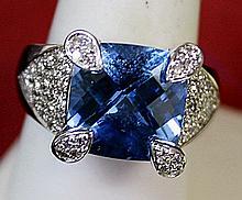 Lady's 14K White Gold Blue Topaz/Diamond Ring (4)