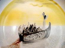 HANDPAINTED SALVADOR DALI CERAMIC CHARGER, DECORATED WITH A SCENE FROM PURGATORY CANTO 2. IN ORIGINAL PRESENTATION BOX, 11