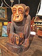 AFRICAN CARVED WOODEN STATUE - MONKEY / CHIMPANZEE, APPROX 11