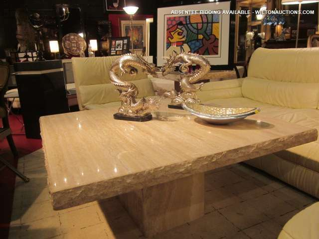 Lot Made In Italy Solid Travertine Coffee Table Approx 4 Ft Square Matching End Tables Sold Separately