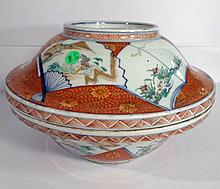 ANTIQUE JAPANESE KUTANI PORCELAIN BOWL WITH LID, MEIJI PERIOD, ORANGE AND WHITE, SIGNED, APPROX 12.75