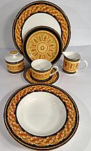 43 PC VICTORIA & BEALE PORCELAIN SERVICE FOR 6, RENAISSANCE PATTERN, GOLD, BLACK, AND WHITE, SKU7496.134