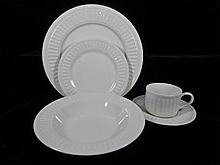 64 PC MONARCH WHITE STONEWARE SERVICE FOR 12, INCLUDES 12 PLATES, 12 CUPS, 12 SAUCERS, 12 BOWLS, 12 SALAD, ROUND PLATTER, SERVING BOWL, CREAMER, SUGAR WITH LID, LIKE NEW CONDITION, SKU7496.164