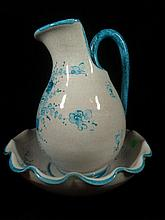 PORCELAIN PITCHER & WASHBASIN, WHITE WITH BLUE DESIGN, PITCHER APPROX 10.5