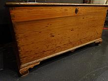 ANTIQUE WOOD CHEST, VERY STURDY CONDITION COMMENSURATE WITH AGE, ONE NATURAL CRACK ON LID, APPROX 3.5'W, SKU7488.22
