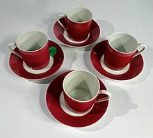 4 LIMOGES FRANCE DEMITASSE CUPS AND SAUCERS, FUSCHIA AND WHITE, MARKED LIMOGES FRANCE, SKU7496.102