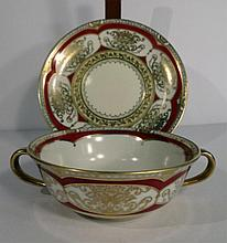 8 NORITAKE BOWLS AND SAUCERS, CIRCA 1920's, RED RIM WITH GOLD, WITH NORITAKE M MARK, EXCELLENT CONDITION, SKU7496.66