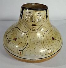 ANTIQUE PERUVIAN SHIPIBO POTTERY VASE, CIRCA LATE 19TH CENTURY, WITH 3 DIMENSIONAL FACE, APPROX 8