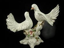 CAPODIMONTE MADE IN ITALY PAIR OF DOVES WITH GOLD ACCENTS, APPROX 12