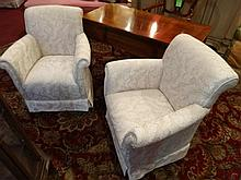 PAIR UPHOLSTERED ARMCHAIRS, WHITE AND GOLD UPHOLSTERY WITH FOLIATE DESIGNS, SKIRTED BASES, EXCELLENT CONDITION, SKU482