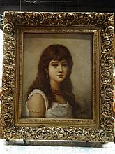 LARGE GICLEE ON CANVAS, PORTRAIT OF A YOUNG GIRL, IN ORNATE FRAME, APPROX 40
