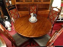 WOOD PEDESTAL DINING TABLE, 5 TWIG MOTIF CHAIRS, LEATHER SEATS, UPHOLSTERED SEAT BACKS, EXCELLENT CONDITION, APPROX 52