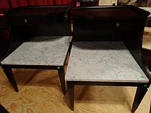 PAIR MAHOGANY 2 TIER TABLES, MARBLE TOPS, BRASS PULLS, EXCELLENT CONDITION, EACH APPROX 20