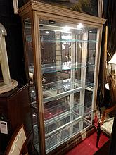 PULASKI LIGHTED CABINET, MIRRORED BACK, GLASS SHELVES, WHITE FINISH, #1 OF TWO AVAILABLE, EACH CABINET SOLD SEPARATELY, APPROX 6.5' X 5' X 14
