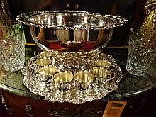 13 PC SHERIDAN SILVERPLATE PUNCHBOWL WITH 12 CUPS, MARKED, 6.25