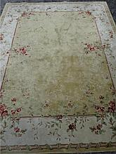 CREAM AND BEIGE RUG, RED FLORALS, APPROX 113