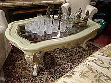 WHITE FRENCH STYLE COFFEE TABLE WITH GLASS INSET TOP, IRON SCROLLWORK, APPROX 3' X 4', SKU424.01