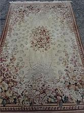 CREAM AND BEIGE RUG, RED FLORALS, APPROX 105